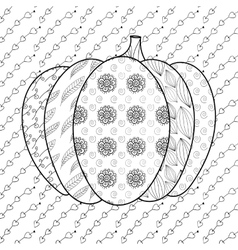 Pumkin adult coloring book page vector