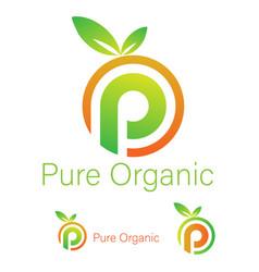 Pure organic logo design template vector