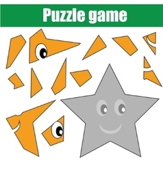 Puzzle game with star shape Printable kids vector