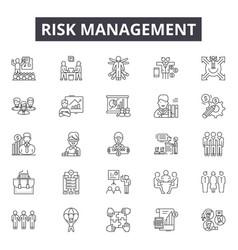 Risk management line icons signs set vector