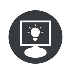 Round light bulb monitor icon vector