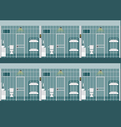 Rows of prison cells vector