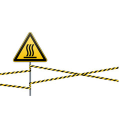 safety sign beware of danger hot surface barrier vector image
