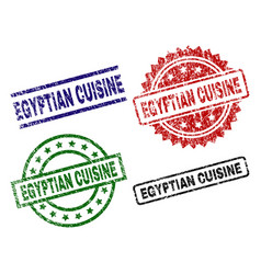Scratched textured egyptian cuisine seal stamps vector