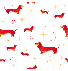 seamless pattern with red dog and heart vector image
