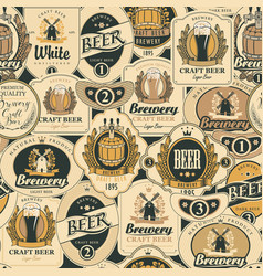 Seamless pattern with various beer labels vector