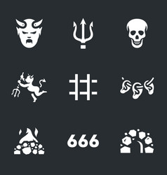 set hell icons vector image