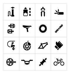 Set icons bicycle parts and accessories vector