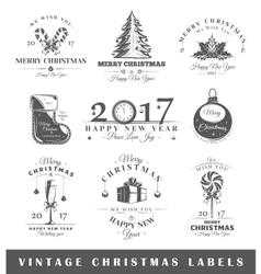 Set of vintage Christmas labels vector image