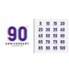 Set trendy anniversary logotype multicolor vector
