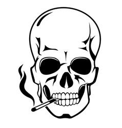 Smoking skull vector