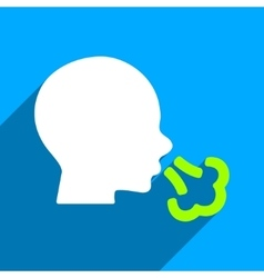 Sneezing Head Flat Square Icon with Long Shadow vector