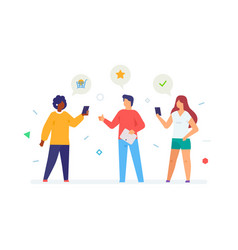Socializing with friends share link flat vector