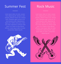 Summer fest rock music poster with man play guitar vector