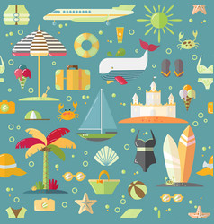 summer flat seamless pattern with holiday vector image
