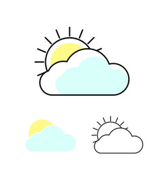 sun and clouds weather icons outline cloud vector image