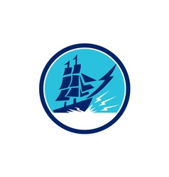 Tall sailing ship lightning bolt circle vector