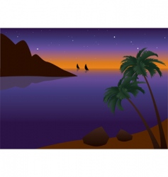 tropical palm beach at sunset vector image