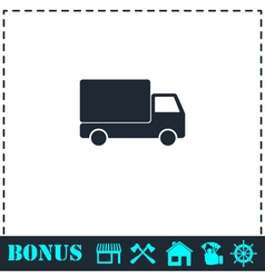 Truck icon flat vector