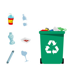 Type of trash concept green recycle garbage bin ve vector