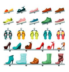 unisex shoes womens mens set store shelves vector image