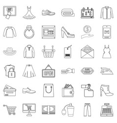 Wholesale trade icons set outline style vector
