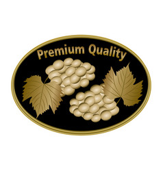 Wine etiquette premium quality with golden grape vector
