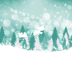 Winter forest background with deer vector