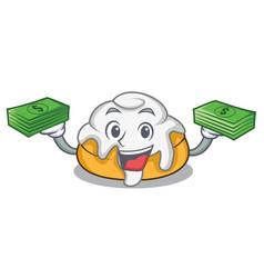 With money bag cinnamon roll mascot cartoon vector