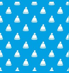 woolen hat pattern seamless blue vector image