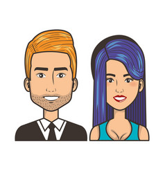 young couple avatars characters portrait people vector image
