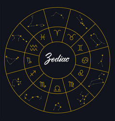 zodiac constellations and zodiac signs in a circle vector image
