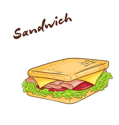 an isolated cartoon hand drawn fast food Sandwich vector image vector image