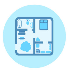 apartment plan top view icon modern house vector image vector image