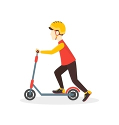 Boy Kid Rides on a Scooter vector image vector image