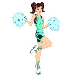 Cheerleader with poms vector image