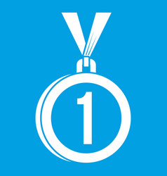 medal for first place icon white vector image vector image