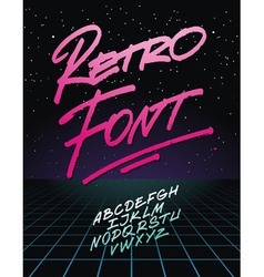 Retro font on light grid background alphabet vector