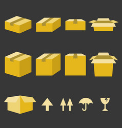 brown paper box with flat style vector image vector image