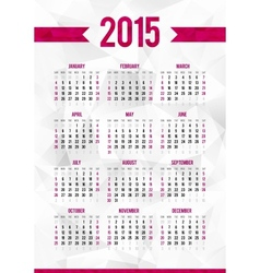 Simple 2015 year calendar template on abstract vector image