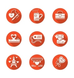 Love red round flat icons set vector image