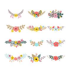 set of floral bouquets for decoration floral vector image