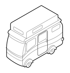 Travelling camper icon outline style vector image