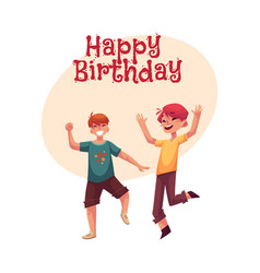 two funny boys kids having fun dancing at party vector image vector image