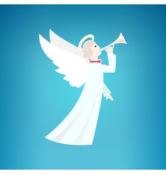 White Christmas Angel on a Blue Background vector image