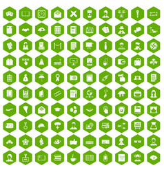 100 writer icons hexagon green vector