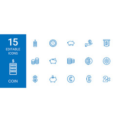 15 coin icons vector image