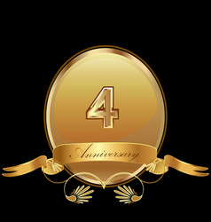 4th golden anniversary birthday seal icon vector image