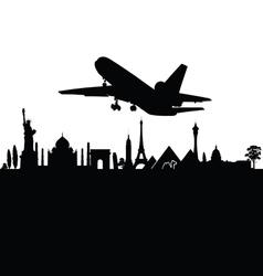 Airplane above city black travel vector