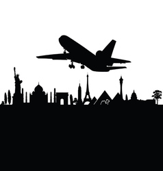 airplane above the city black travel vector image